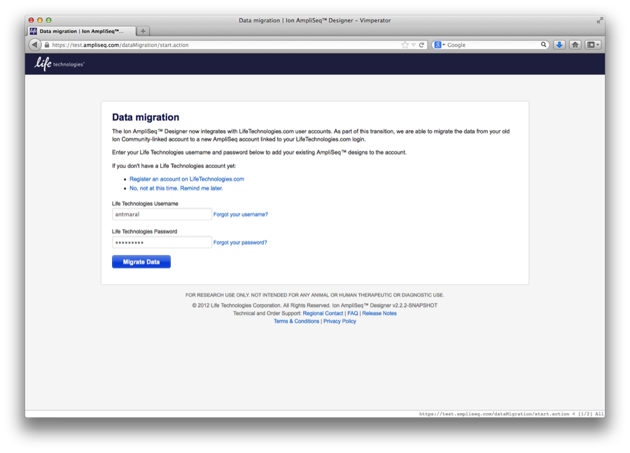 Screenshot of the data migration start page