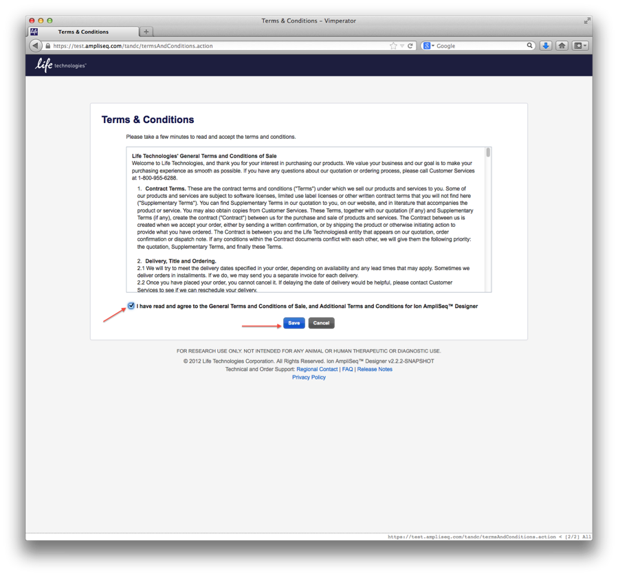 Screenshot of the terms and conditions page